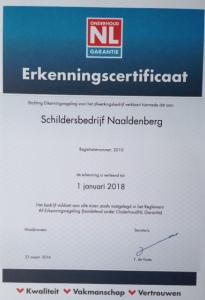Erkenningscertificaat onderhoud NL Garantie